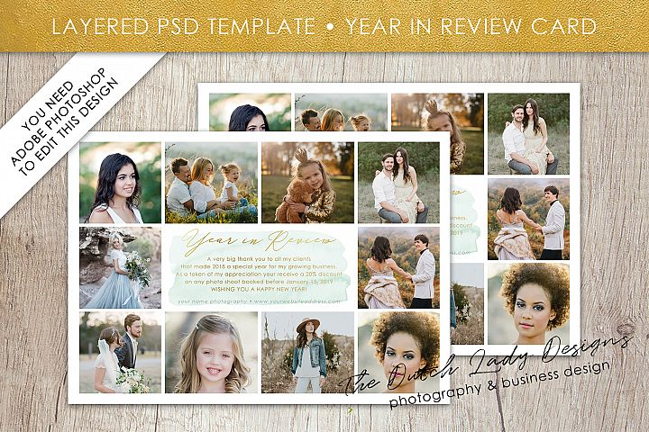 PSD Year In Review Photo Collage Card Template #3
