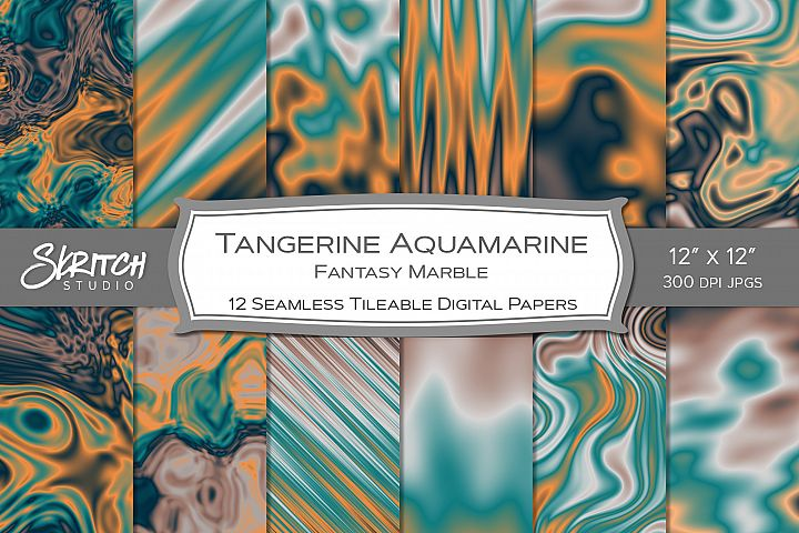 Tangerine Aquamarine Fantasy Marble 12 Tileable Papers