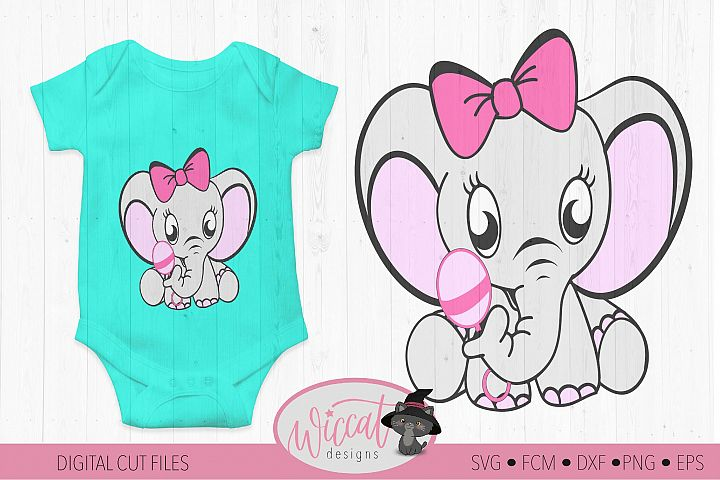 Girl elephant svg, newborn svg, dxf cut file, fcm file,
