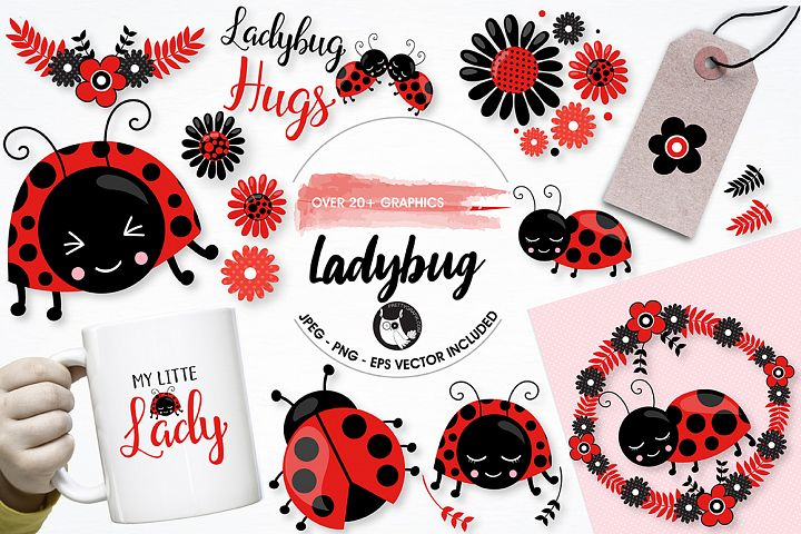 Little ladybug graphics and illustrations - Free Design of The Week