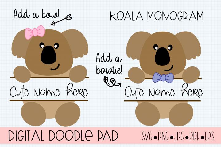 Koala SVG Split Monogram, Cricut & Silhouette Cut Files