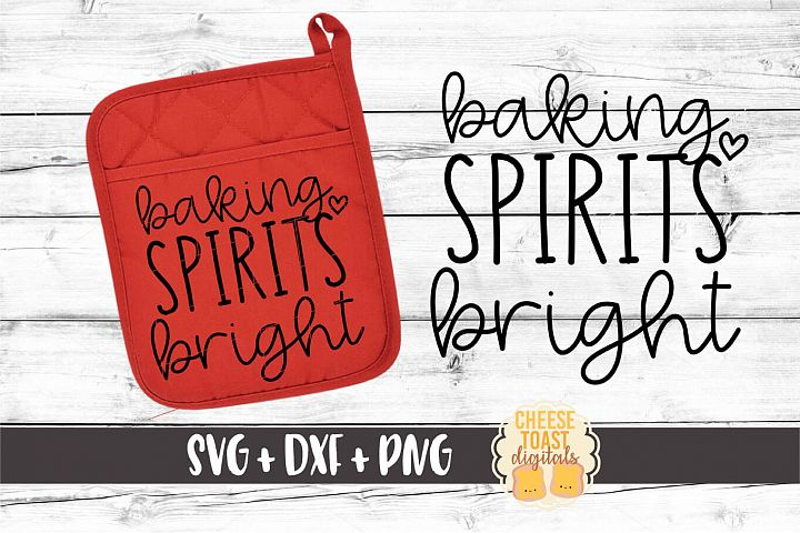 Baking Spirits Bright - Christmas Oven Mitt SVG PNG DXF File