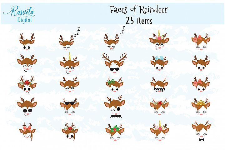 Christmas Decor Reindeer Faces