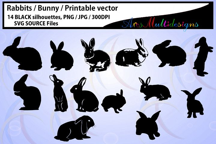 Rabbit Silhouette / vector rabbit / Bunny Silhouettes / High Quality / printable bunny / rabbit / bugs bunny / SVG / PNG / easter bunny