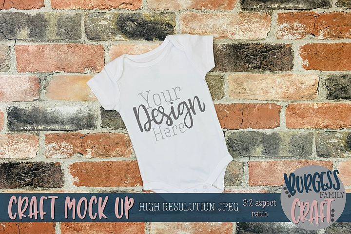 Brick angled baby bodysuit Craft mock up | High Res JPG