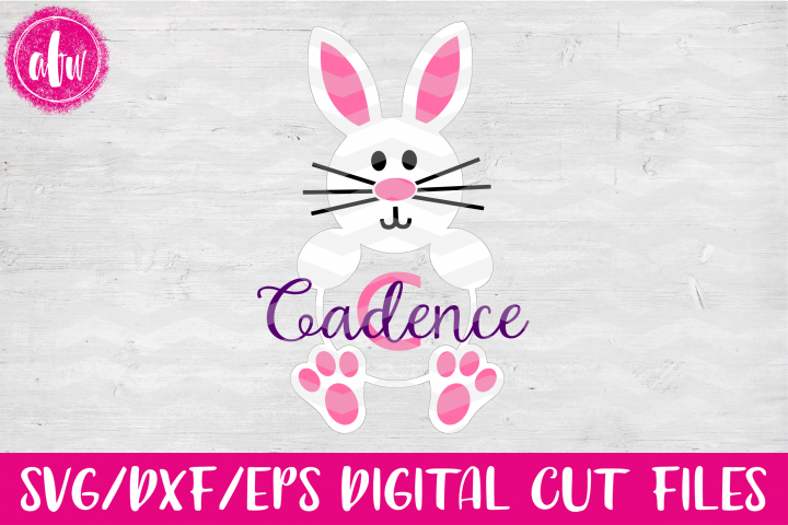 Monogram Bunny - SVG, DXF, EPS Cut File