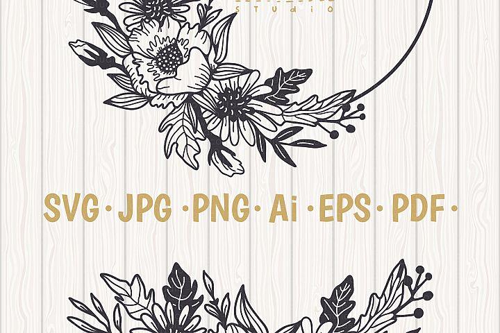 Flower Wreath SVG, Flower monogram svg example 7