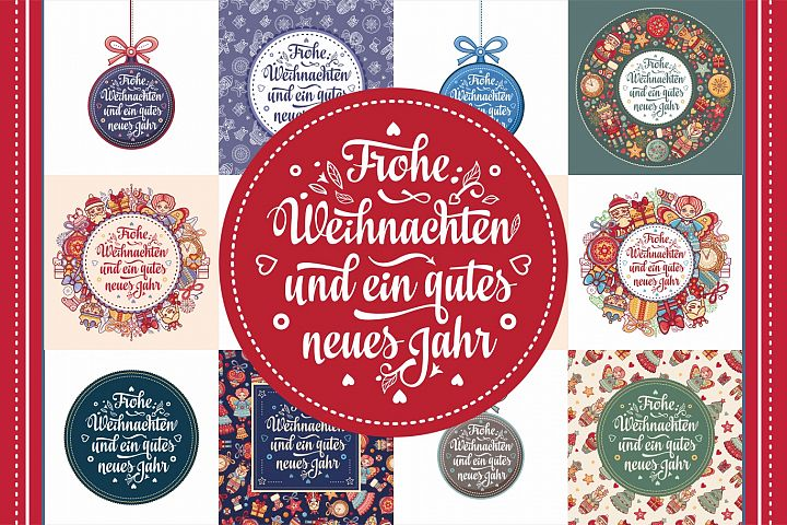 ! German New Year and Xmas. 30 card. Neujahr und Weihnachten
