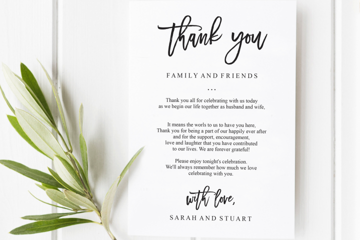 Printable Wedding Thank You Letter Welcome Cards Editable