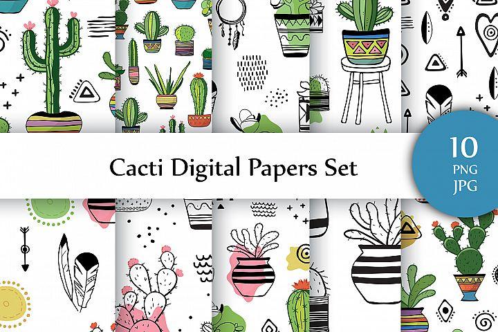 Cacti Digital Paper. 10 seamless png & 10 jpg