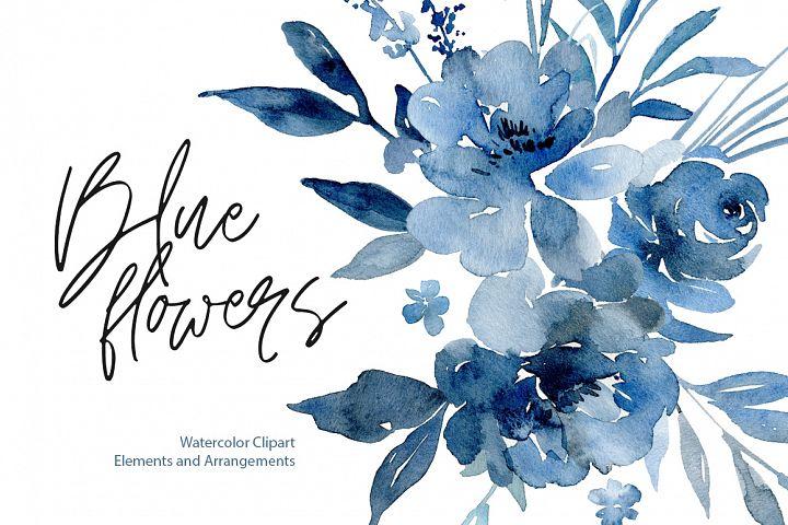 Watercolor Navy Indigo Blue Flowers, Bouquets, Frames
