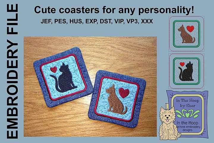 Cat & Dog Coasters - 4 x 4 and 5 x 7 Hoops