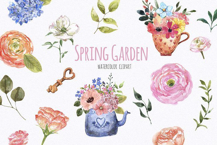 Watercolor Spring Floral Garden Clipart Easter
