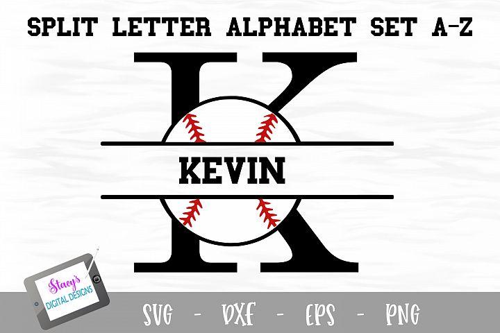 Split Letters A-Z - 26 Split Monogram Baseball SVG alphabet