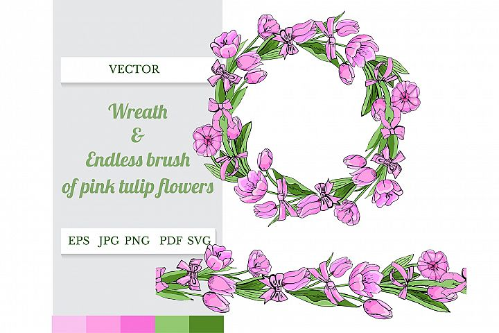 Wreath and endless brush of pink tulip flowers and bows.