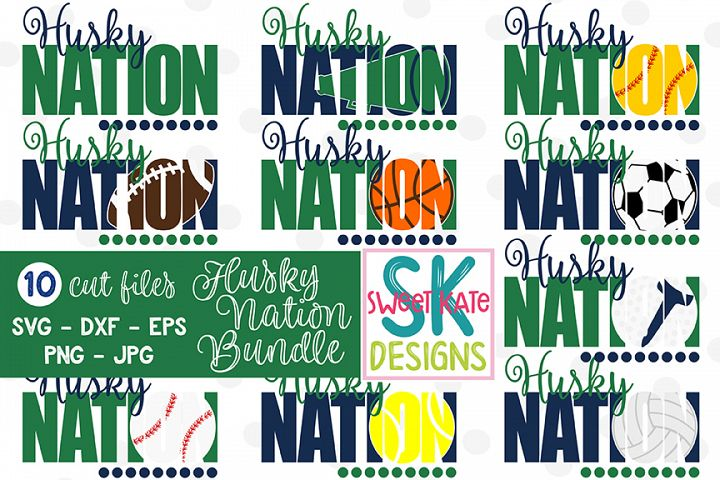 Husky Nation Bundle - 10 - SVG DXF EPS PNG JPG