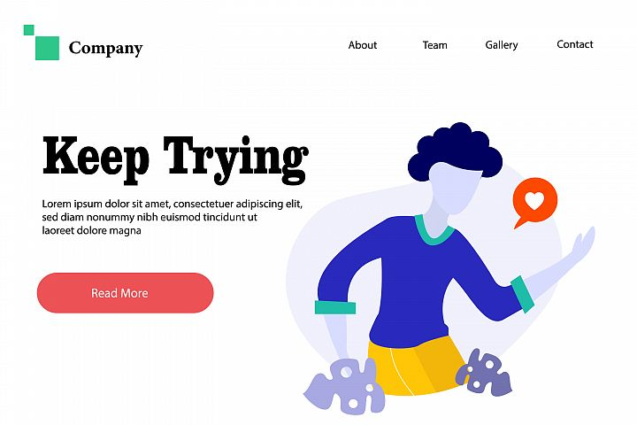 Keep Trying - Vector Flat Illustration