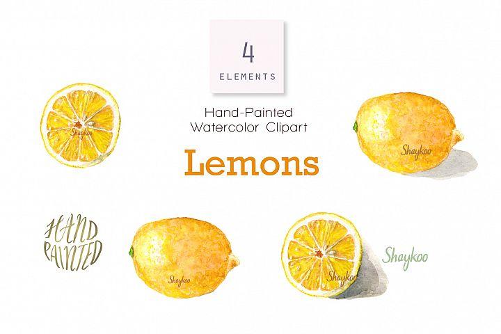 Lemon Fruit Watercolor Clipart, Whole and Half Lemon