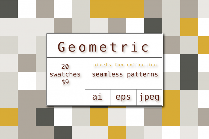 20 Geometric patterns, pixels fun collection.