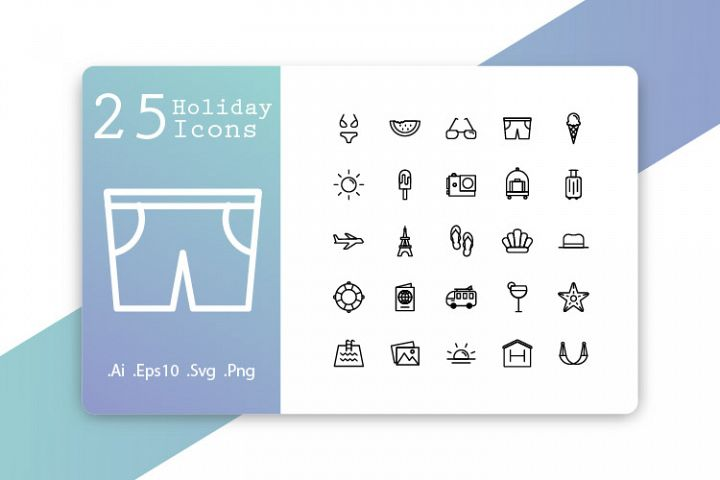 25 Holiday Icons Line Design