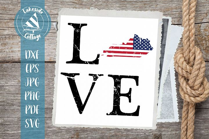 LOVE Kentucky - 4th of july svg - memorial day svg dxf eps
