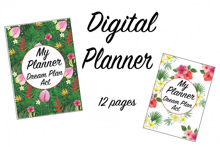 Tropics digital watercolor planner