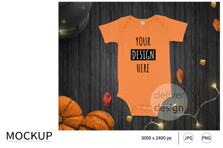 Halloween Orange Unisex Bodysuit Mockup. Flat Lay