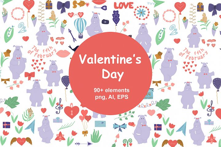 Valentines day clipart, love and heart vector clipart
