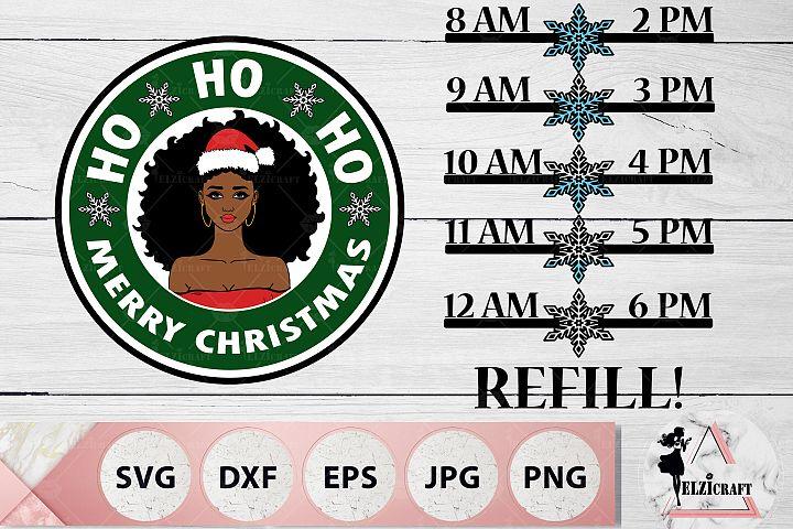 Water Bottle Tracker Christmas Afro Girl SVG Cut Files