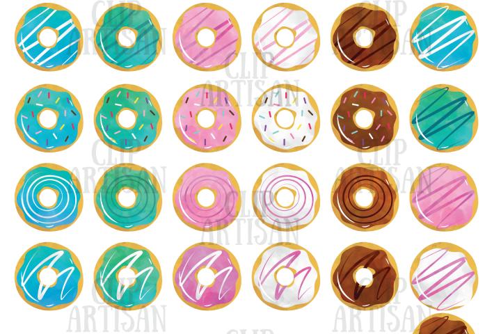 Watercolor Donuts Clipart, Doughnuts Clip Art