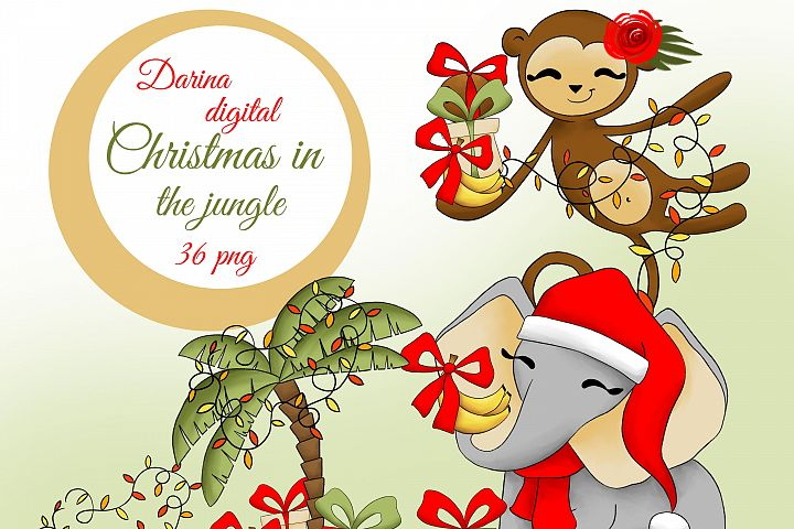Christmas in the jungle clipart
