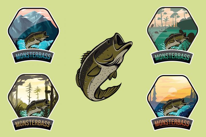 Monsterbass Badges set
