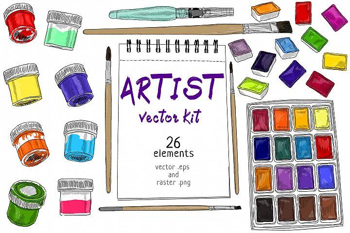 Artist hand drawn kit