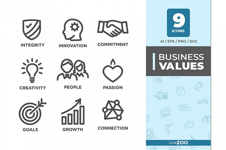 Company Core Values Outline Icons - Commitment, Integrity