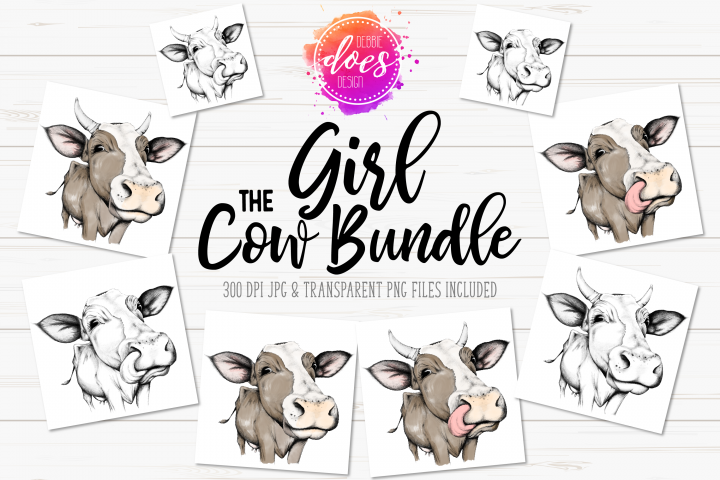 The Girl Cow Bundle - Hand Drawn Cow Illustrations