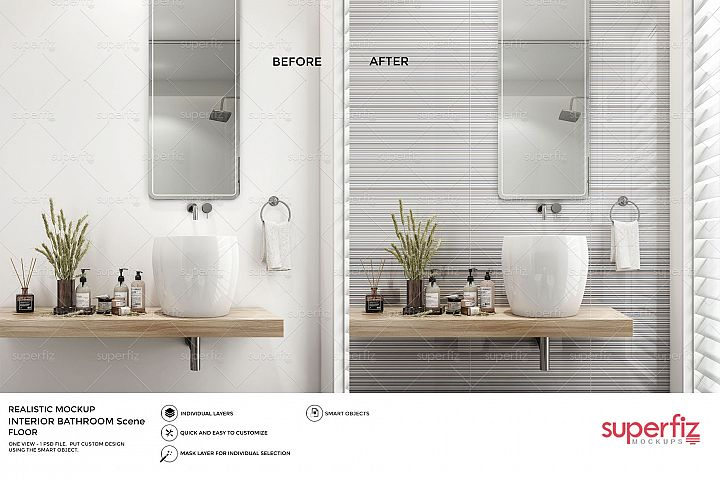 Bathroom PSD Mockup to change the WALL surface SM66