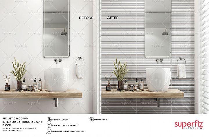 Bathroom PSD Mockup to change the WALL surface SM66
