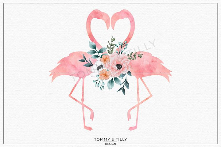 Love Flamingos No.2 Watercolour - Sublimation PNG Clipart