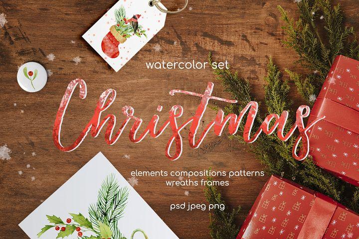 Christmas watercolor set