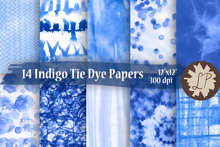 14 Blue Tie Dye Watercolour Papers