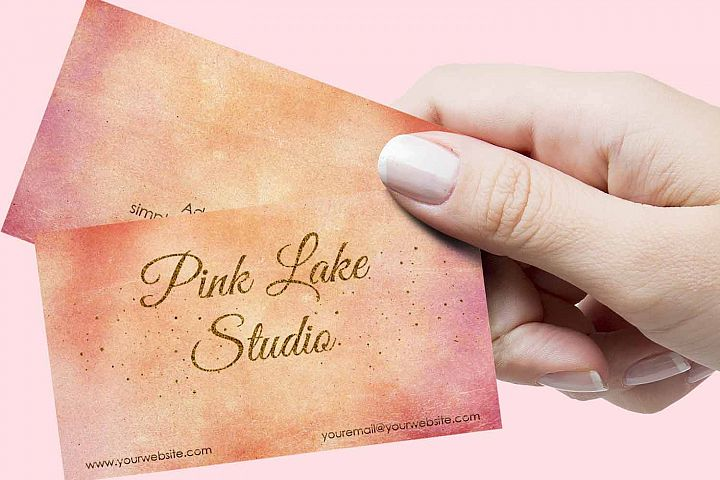 Blush, Apricot and Gold Glitter Business Card Template example 1