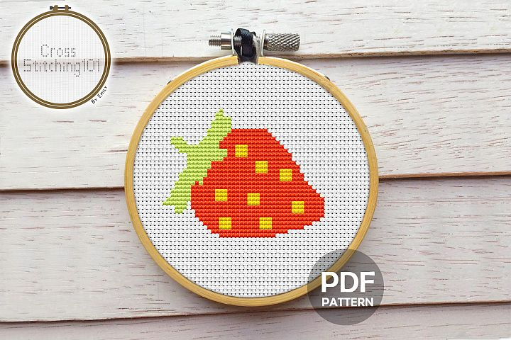 Red Strawberry Cross Stitch Pattern - Instant Download PDF