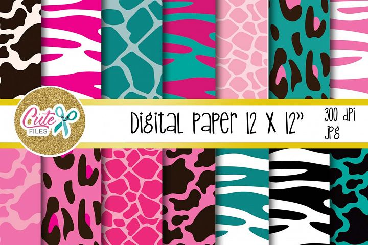 Animal print Pink and Teal, Digital paper for scrapbooking