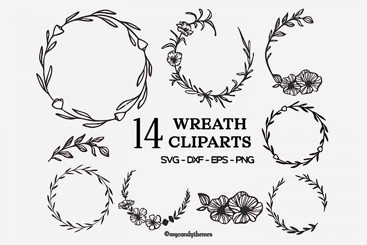 wreath svg bundle clipart floral flower frame logo botanical