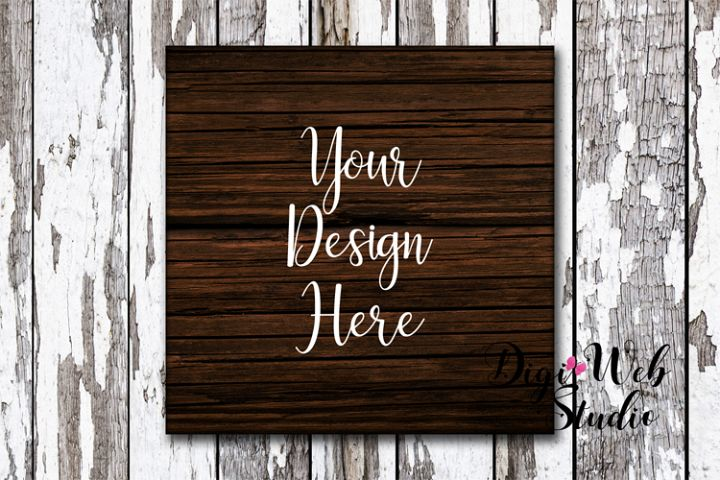 Wood Sign Mockup - Rustic Dark Wood Sign on Distressed Wood