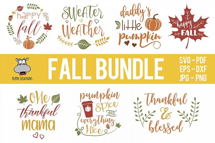 Fall Bundle SVG, Autumn Bundle, Thanksgiving, EPS DXF PNG