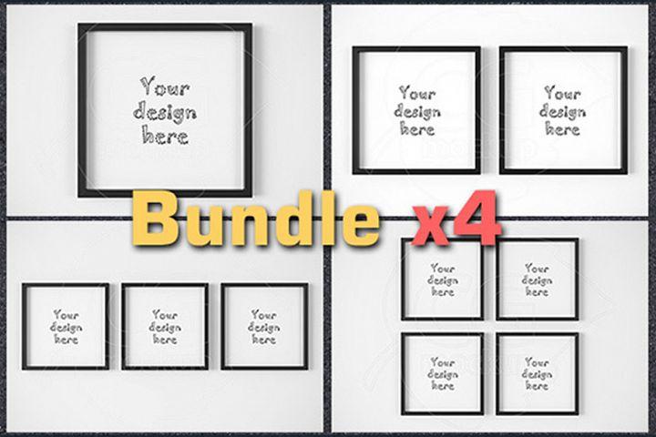 BUNDLEx4 square black frame mockup