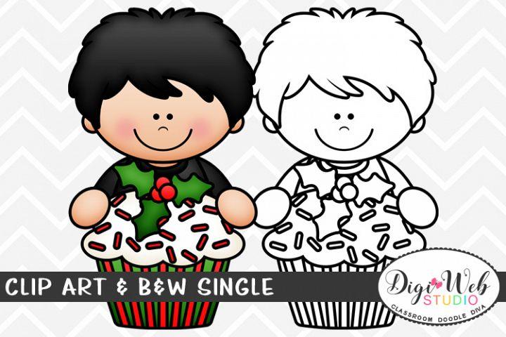 Clip Art & B&W Single - Topper Boy w/ A Christmas Cupcake