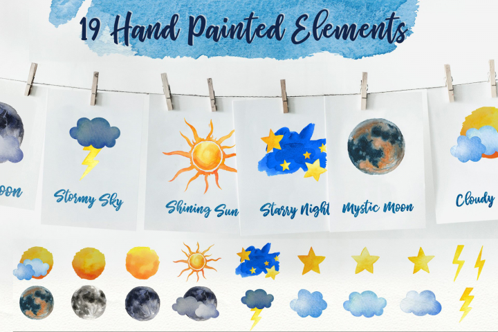 Sky Wonder, Watercolor Clip Art Set! Patterns, Backgrounds! example 1