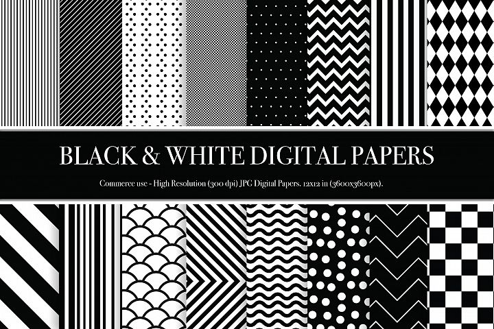Black and White Digital Papers - P2